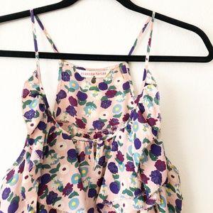 Rebecca Taylor Pink Floral Silk Ruffle Tank 12